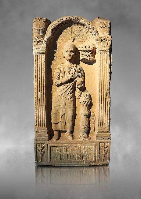 Second century AD Roman funerary Stele dedicated to Caipenniae Victoriae from  Africa Proconsularis , present day Tunisia. The Bardo National Museum, Tunis, Tunisia . Against a grey art background.
