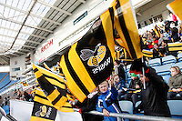 Photo: Richard Lane/Richard Lane Photography. Wasps Open Training Session at the Ricoh Arena ahead of their first game at the stadium. 16/12/2014. Young Wasps supporters.
