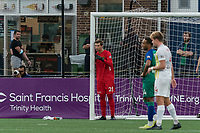 HARTFORD, CT - AUGUST 17: Paul Lewis #28 of Charleston Battery sets the wall during a game between Charleston Battery and Hartford Athletic at Dillon Stadium on August 17, 2021 in Hartford, Connecticut.