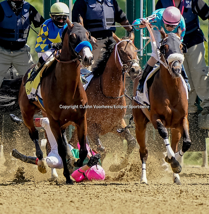 May 15, 2021 : #3 Market Cap, with Johan Rosado, takes a fall during the Sir Barton Stakes on Preakness Stakes Day at Pimlico Race Track in Baltimore, Maryland on May 15, 2021. John Voorhees/Eclipse Sportswire/CSM
