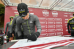 Mitchelton-Scott riders at sign on before the start of the 2018 Strade Bianche NamedSport race running 184km from Siena to Siena, Italy. 3rd March 2018.<br /> Picture: LaPresse/Massimo Paolone | Cyclefile<br /> <br /> <br /> All photos usage must carry mandatory copyright credit (© Cyclefile | LaPresse/Massimo Paolone)