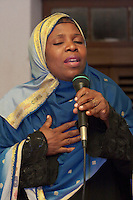 Zanzibar, Tanzania.  Taarab Musicians.  Culture Musical Club.  Female Singer.