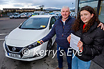 Mike Lyne and his daughter Siobhan from Brandon, ready to drive away in their new Nissan Leaf  electric car from the ESB Network at Adams Garage on Tuesday.