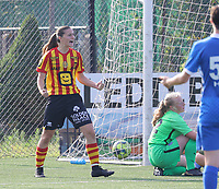 Louisse Rillaerts (15) of Yellow Red KV Mechelen  celebrates the goal during soccer game between Yellow Red KV Mechelen Women and KRC Genk during Belgian Women's National Division 1 match  on day 2 of 2021-2022 season, on Saturday 4th of September  2021 in Mechelen , Belgium . PHOTO SEVIL OKTEM | SPORTPIX