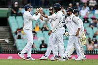 8th January 2021; Sydney Cricket Ground, Sydney, New South Wales, Australia; International Test Cricket, Third Test Day Two, Australia versus India; India team congratulate Ajinkya Rahane after his catch dismisses Marnus Labuschagne of Australia