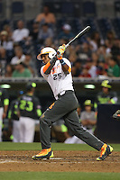 Francisco Thomas (25) of the East team bats during the 2015 Perfect Game All-American Classic at Petco Park on August 16, 2015 in San Diego, California. The East squad defeated the West, 3-1. (Larry Goren/Four Seam Images)
