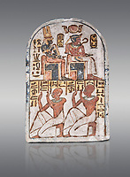 """Ancient Egyptian Stele of Amenemope dedicated to Amenhotep I and Ahmose-Nefertari, limestone, New Kingdom, 19th Dynasty, (1279-1213 BC), Deir el-Medina, Drovetti cat 1454. Egyptian Museum, Turin. Grey background.<br /> <br /> The stele is dedicated to Amenhotep I and Ahmose-Nefertari by the 'Servant in the Place of Truth' Amenemope and Amennakht. The king and the queen are shown sitting on their thrones. Above the sovereign there is a solar disc flanked by two sacred cobras and their cartouches are shown to the right of each of them. In the bottom register Amenemope is shown with his son  Amennakht, who also was a """"Servant in the Place of Truth"""", in the pose of adoration."""