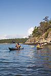 Sea kayaking, Sucia Island, Marine State Park, San Juan Islands, Island County, Salish Sea, Washington State, Pacific Northwest, U.S.A.,