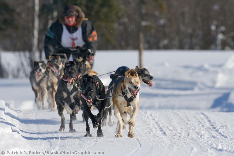 Musher Andi Heutten, 2007 Open North American Championship sled dog race (the world's premier sled dog sprint race) is held annually in Fairbanks, Alaska.