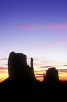 USA, Arizona, Monument Valley Navajo Tribal Park, dawn over the Left and Right Mittens