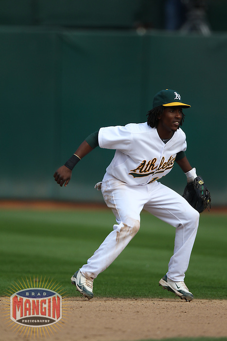 OAKLAND, CA - JULY 16:  Jemile Weeks of the Oakland Athletics plays defense at second base against the Los Angeles Angels of Anaheim during the game at the Oakland-Alameda County Coliseum on Saturday, July 16, 2011 in Oakland, California. Photo by Brad Mangin