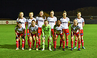 Zulte-Waregem players with Corina Luijks , Geena Lisa Buyle , Romy Camps , Ella Vierendeels , Pauline Windels , Amber De Priester , Summer Rogiers , Liesa Capiau , Lotte De Wilde and Esther Buabadi pictured posing for the teampicture during a female soccer game between RSC Anderlecht Dames and SV Zulte Waregem on the 10 th matchday of the 2020 - 2021 season of Belgian Womens Super League , friday 18 th of December 2020  in Tubize , Belgium . PHOTO SPORTPIX.BE | SPP | DAVID CATRY