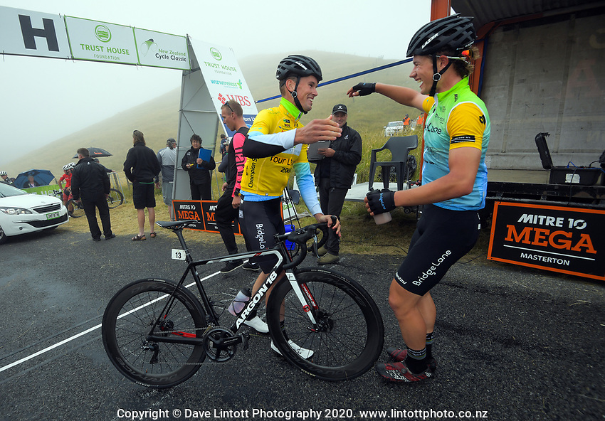 Jensen Plowright (Australia/Team BridgeLane, right) congratulates teammate Rylee Field after stage four of the NZ Cycle Classic UCI Oceania Tour (Te Wharau-Admiral Hill Queen Stage) in Wairarapa, New Zealand on Saturday, 18 January 2020. Photo: Dave Lintott / lintottphoto.co.nz