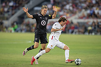 LOS ANGELES, CA - AUGUST 25: Walker Zimmerman #25 of the MLS All Stars and Santiago Gimenez #29 of the Liga MX All Stars during a game between Liga MX All Stars and MLS All Stars at Banc of California Stadium on August 25, 2021 in Los Angeles, California.