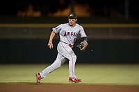 Mesa Solar Sox second baseman Jahmai Jones (9), of the Los Angeles Angels organization, during an Arizona Fall League game against the Scottsdale Scorpions on October 9, 2018 at Scottsdale Stadium in Scottsdale, Arizona. The Solar Sox defeated the Scorpions 4-3. (Zachary Lucy/Four Seam Images)