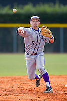 High Point Panthers second baseman Devin Bujnovsky (6) makes a throw to third base against the Presbyterian Blue Hose at the Presbyterian College Baseball Complex on March 3, 2013 in Clinton, South Carolina.  The Blue Hose defeated the Panthers 4-1.  (Brian Westerholt/Four Seam Images)