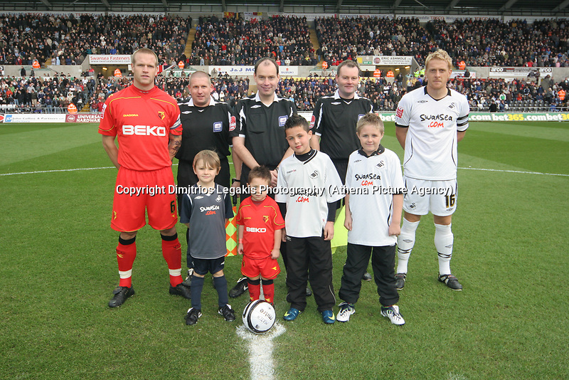 Pictured: Garry Monk (right) of Swansea City<br /> Re: Coca Cola Championship, Swansea City Football Club v Watford at the Liberty Stadium, Swansea, south Wales 09 November 2008.<br /> Picture by Dimitrios Legakis Photography (Athena Picture Agency), Swansea, 07815441513