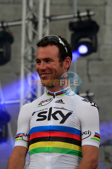 Sky Procycling team rider World Champion Mark Cavendish (GBR) on stage at the Team Presentation Ceremony before the 2012 Tour de France in front of The Palais Provincial, Place Saint-Lambert, Liege, Belgium. 28th June 2012.<br /> (Photo by Eoin Clarke/NEWSFILE)