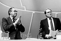 Montreal (Qc) CANADA - 1987 File Photo - - New Democratic Party (NDP) Convention  - ed Broadbent (L) and Ken Dryden