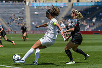 BRIDGEVIEW, IL - JUNE 5: Abby Erceg #6 of the North Carolina Courage kicks the ball during a game between North Carolina Courage and Chicago Red Stars at SeatGeek Stadium on June 5, 2021 in Bridgeview, Illinois.