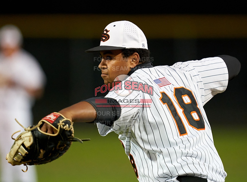 Sarasota Sailors first baseman Chris Soeder (18) during warmups before a game against the Riverview Rams on February 19, 2021 at Rams Baseball Complex in Sarasota, Florida. (Mike Janes/Four Seam Images)