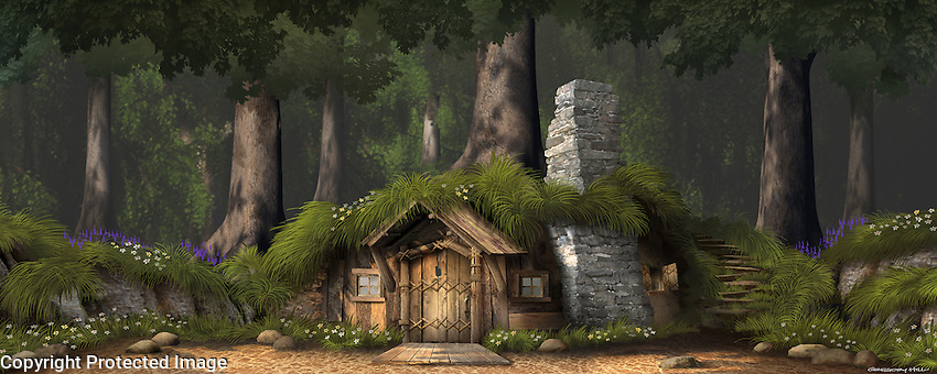 The classic view of Shrek's home in the swamp. The design has been altered from the film's for legal reasons.  For Kenmark Scenic Backdrops, Inc.