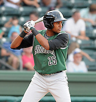 Outfielder Rafael Rodriguez (35) of the Augusta GreenJackets, Class A affiliate of the San Francisco Giants, in a game against the Greenville Drive on August 27, 2011, at Fluor Field at the West End in Greenville, South Carolina. (Tom Priddy/Four Seam Images)