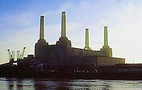 London: Battersea Power Station, three-quarter view. Sir Giles Gilbert Scott, 1932-34.  Photo '79.