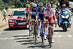 The breakaway featuring Stephane Rossetto (FRA) Cofidis, Paul Ourselin (FRA) Total Direct Energie, Alexis Gougeard (FRA) AG2R La Mondiale, Lukasz Wisniowski (POL) CCC Team and Lars Ytting Bak (DEN) Dimension Data during Stage 16 of the 2019 Tour de France running 177km from Nimes to Nimes, France. 23rd July 2019.<br /> Picture: ASO/Pauline Ballet   Cyclefile<br /> All photos usage must carry mandatory copyright credit (© Cyclefile   ASO/Pauline Ballet)