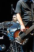 22/05/2006 Barbican Hall, London, England. Brazilian Mangue Beat band Nacao Zumbi; drummer and bassist.