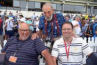 Legendary photographers (from left) Ross Setford, Peter Bush and Marty Melville at the end of day four of the international cricket test between the NZ Black Caps and Australia at Westpac Stadium, Wellington, New Zealand on Monday, 15 February 2016. Photo: Dave Lintott / lintottphoto.co.nz