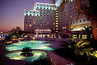 Twilight at the Grand Casino - Bayview Hotel. Offshore gambling has transformed Biloxi into a major resort. Biloxi, Mississippi