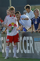 Chris Leitch is given instruction from Juan Carlos Osorio. Kansas City Wizards v New York Red Bulls, Community America Ballpark, Kansas City, Kansas.
