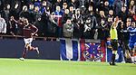 29.02.2020 Hearts v Rangers: Loic Damour celebrateds as Rangers players claim for handball