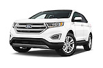 Stock pictures of low aggressive front three quarter view of a 2018 Ford Edge SEL 5 Door Suv Low Aggressive