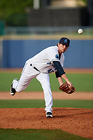 Lake County Captains relief pitcher Riley Echols (45) delivers a pitch during the first game of a doubleheader against the South Bend Cubs on May 16, 2018 at Classic Park in Eastlake, Ohio.  South Bend defeated Lake County 6-4 in twelve innings.  (Mike Janes/Four Seam Images)