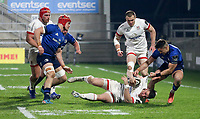 6 March 2021; James Hume of Ulster is tackled by Cian Kelleher of Leinster during the Guinness PRO14 match between Ulster and Leinster at Kingspan Stadium in Belfast. Photo by John Dickson/Dicksondigital