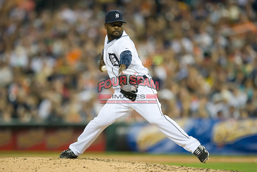 Relief pitcher Fernando Rodney in action against the New York Yankees at Comerica Park April 27, 2009 in Detroit, Michigan.  Photo by Brian Westerholt / Four Seam Images