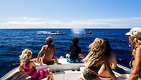 A family observes as whales swim close to their boat off of Maui.