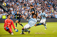 Kansas City, KS - Wednesday August 9, 2017: Andrew Tarbell, Latif Blessing during a Lamar Hunt U.S. Open Cup Semifinal match between Sporting Kansas City and the San Jose Earthquakes at Children's Mercy Park.