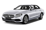 2018 Mercedes Benz E Class Business Solution 4 Door Sedan angular front stock photos of front three quarter view