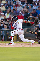 AFL West center fielder Cristian Pache (27), of the Peoria Javelinas and Atlanta Braves organization, follows through on his swing during the Arizona Fall League Fall Stars game at Surprise Stadium on November 3, 2018 in Surprise, Arizona. The AFL West defeated the AFL East 7-6 . (Zachary Lucy/Four Seam Images)