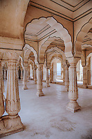 Jaipur, Rajasthan, India.  Arches and Columns in the Hall of Private Audiences, Amber (or Amer) Palace, near Jaipur.