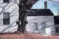 Sap buckets herald maple sugar season at Northwood, New Hampshire. Photograph by Peter E. Randall.
