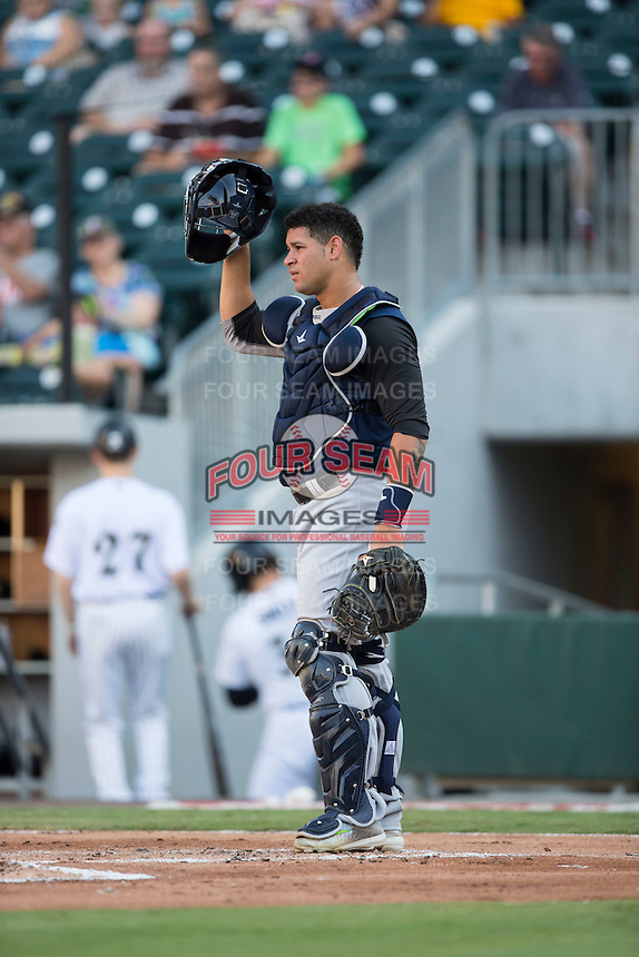 Scranton/Wilkes-Barre RailRiders catcher Gary Sanchez (35) on defense against the Charlotte Knights at BB&T BallPark on July 20, 2016 in Charlotte, North Carolina.  The RailRiders defeated the Knights 14-2.  (Brian Westerholt/Four Seam Images)