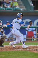 Jorbit Vivas (9) of the Ogden Raptors at bat against the Grand Junction Rockies at Lindquist Field on August 28, 2019 in Ogden, Utah. The Rockies defeated the Raptors 8-5. (Stephen Smith/Four Seam Images)