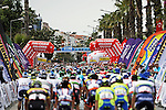 The peloton cross the finish line during Stage 1 of the 2015 Presidential Tour of Turkey running 182km from Alanya to Alanya. 26th April 2015.<br /> Photo: Tour of Turkey/Stiehl Photography/Mario Stiehl/www.newsfile.ie