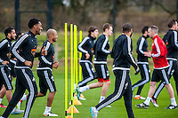 Tuesday 19 April 2016<br /> Pictured: Leroy Fer ( left ) during training <br /> Re: Swansea City Training Session ahead of the away game against Leicester City FC