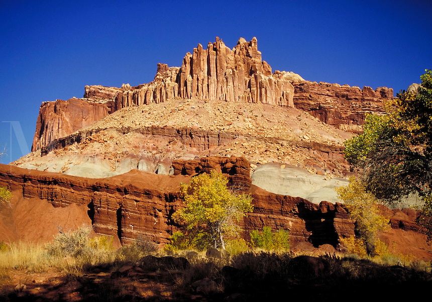 Cliffs, Navajo sandstone, Kayenta formation, Wingate sandstone formation, chinle formation, Moenkopi formation, Fall, redrock, slickrock, wilderness, Colorado Plateau, southern Utah. Fruita Utah United States Capitol Reef National Park.
