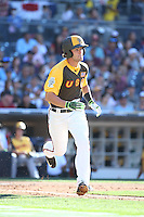 Dansby Swanson of the USA Team runs to first base during a game against the World Team during The Futures Game at Petco Park on July 10, 2016 in San Diego, California. World Team defeated USA Team, 11-3. (Larry Goren/Four Seam Images)
